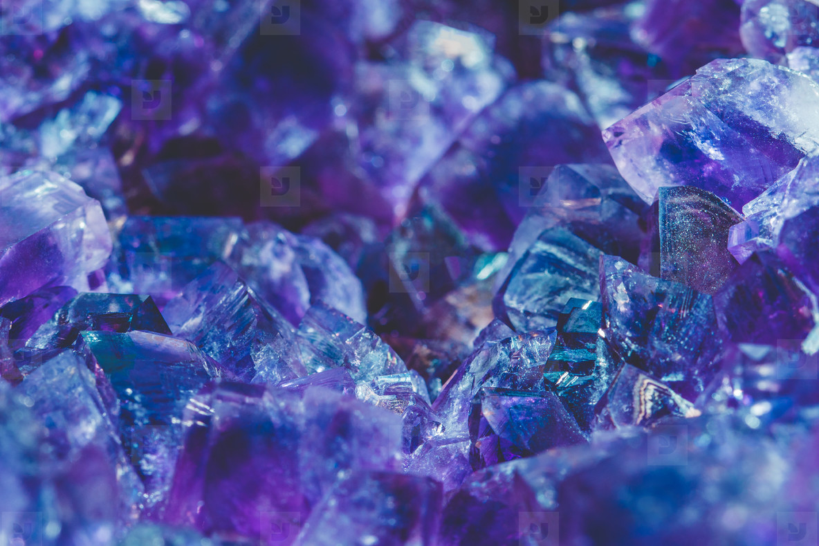 The close up of the crystal of Amethyst