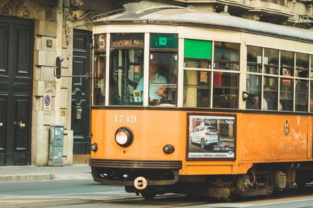ITALY MILAN   23 SEPTEMBER 2017 5 the tram arrives at the Via Vitruvio street