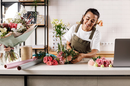 Female florist working