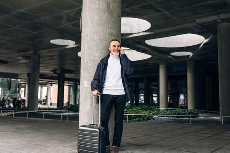 Smiling mature traveller