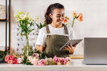 Smiling florist woman