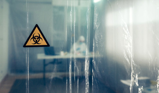Protective curtain with biohazard symbol