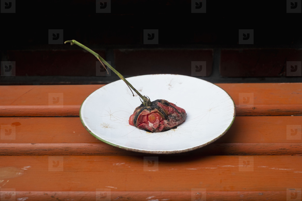 Smashed vine tomato on plate