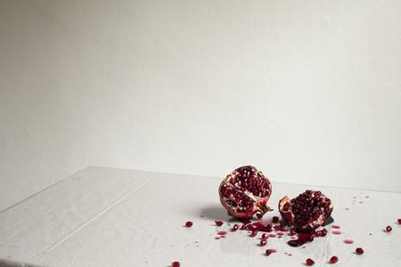 Cross section smashed pomegranate