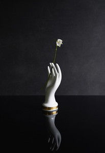 Porcelain hand holding white flower