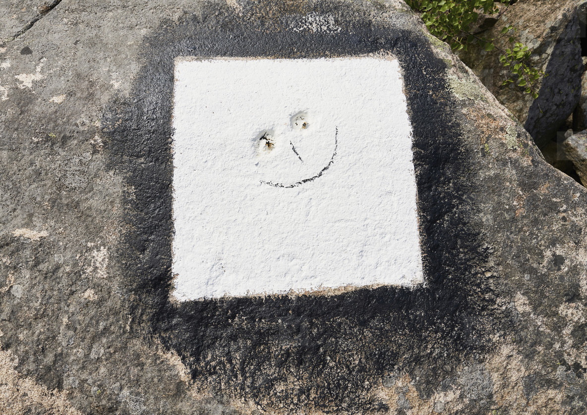 Smiley face in white concrete