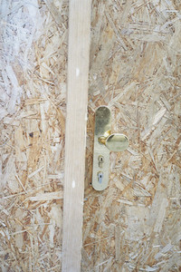 Close up fiberboard door handle