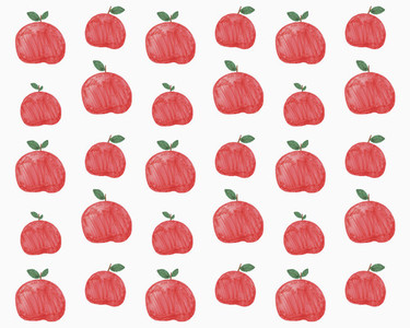 Illustration of red apples on white background