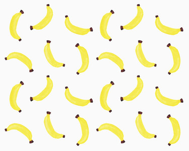 Illustration of yellow bananas on white background