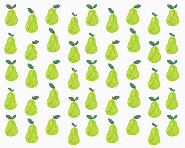 Illustration of green pears on white background