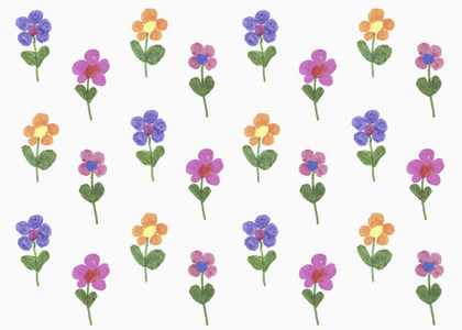 Illustration of multi colored flowers on white background