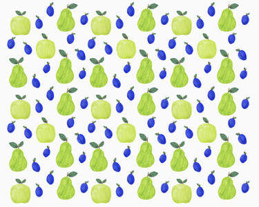 Pattern of green and blue autumn fruits on white background