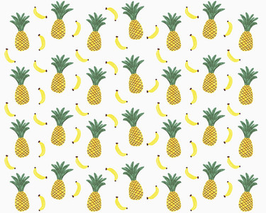 Illustration of yellow pineapples and bananas on white background