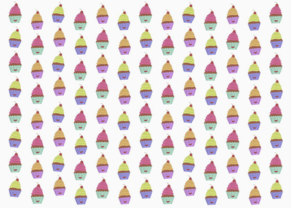 Illustration of anthropomorphic cupcakes on white background