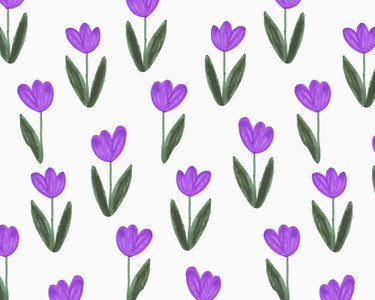 Illustration of purple tulips on white background