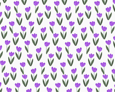 Illustration of purple tulips on white background