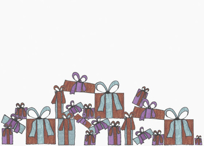 Illustration of wrapped gifts on white background