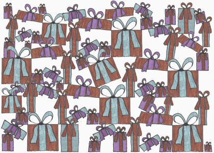 Illustration of stacked gifts on white background