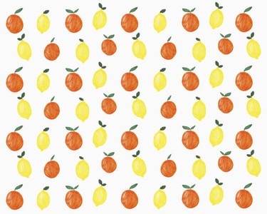 Illustration of lemons and oranges on white background