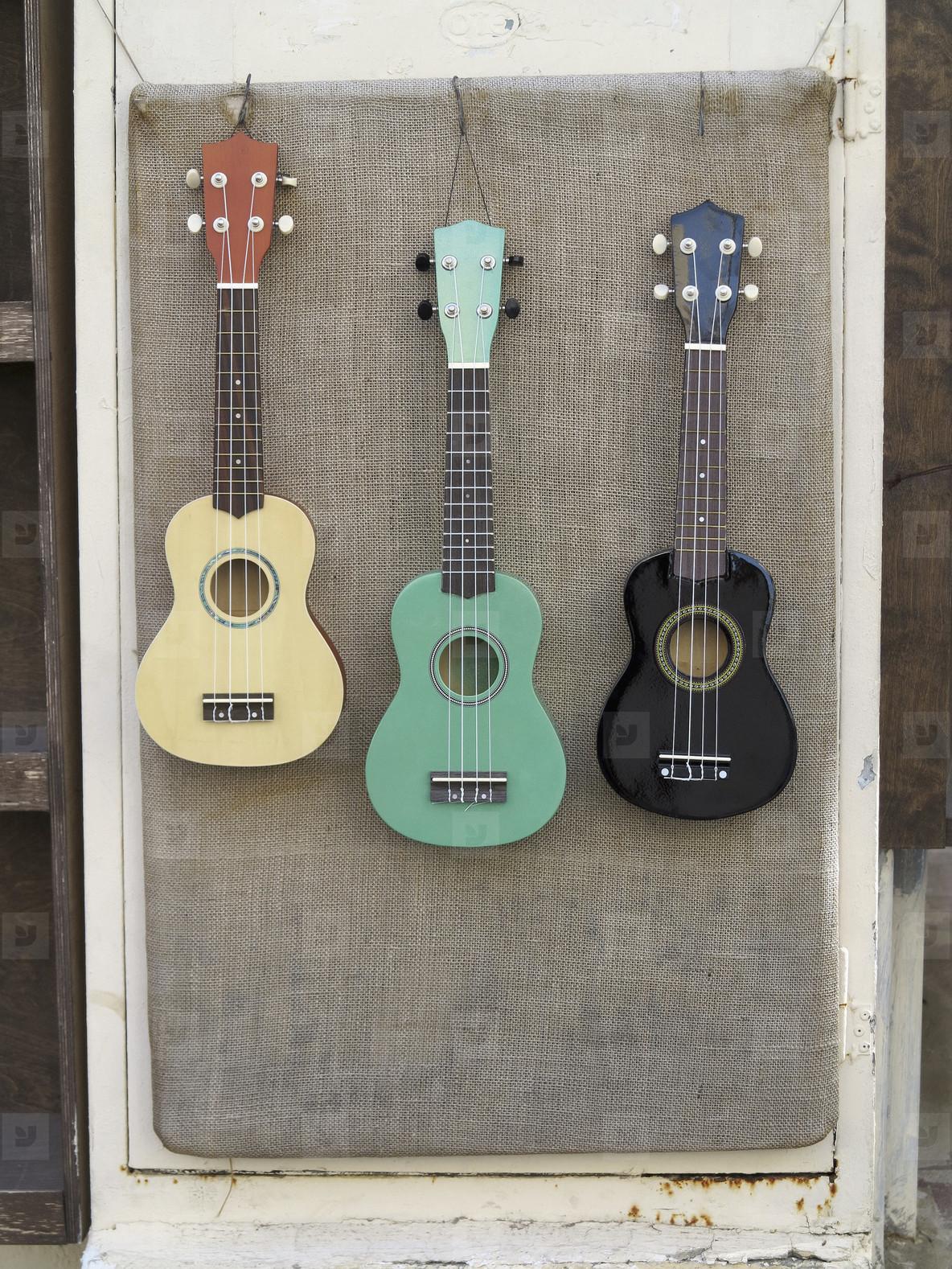 Multicolor guitars hanging art display