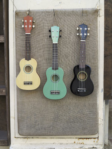 Multicolor guitars hanging art display