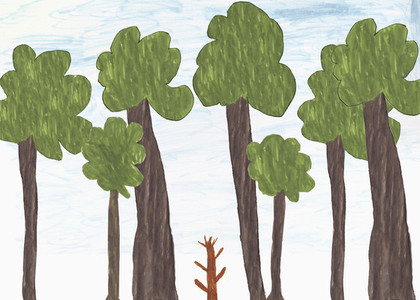 Childs drawing of big and small trees