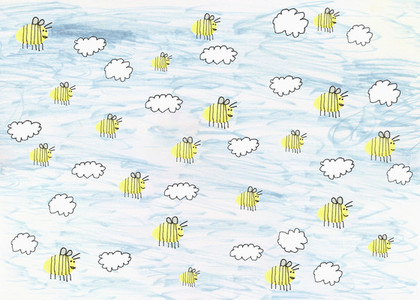 Childs drawing of bumblebees flying in blue sky with clouds