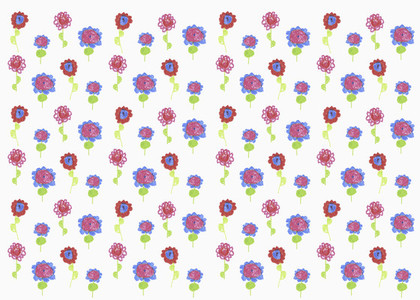 Childs drawing of vibrant colored flowers on white background