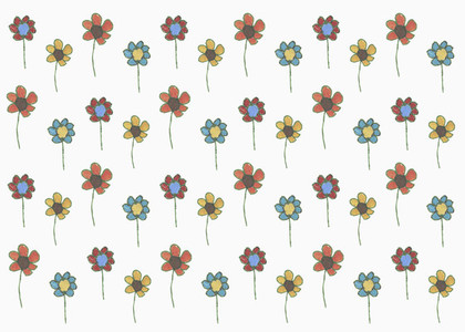 Drawing multi colored flowers on white background