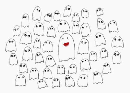 Drawing of ghosts on white background