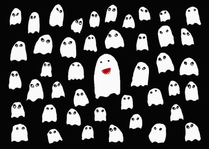 Drawing of cute white ghosts on black background