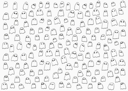 Drawing of small ghosts on white background