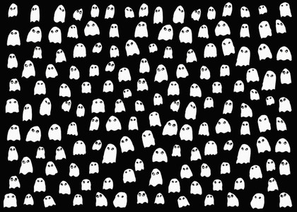 Drawing of small white ghosts on black background