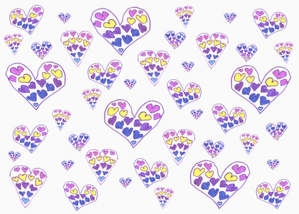 Childs drawing of multi colored hearts on white background