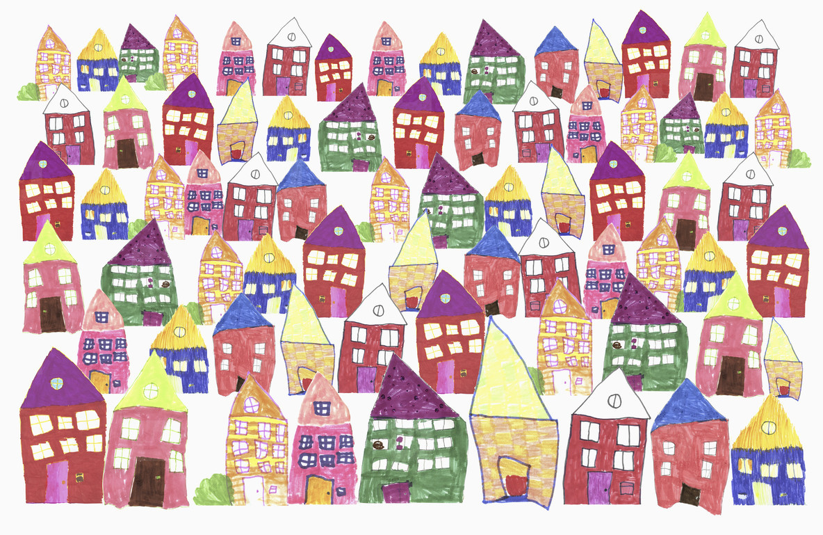 Childs drawing of multi colored houses