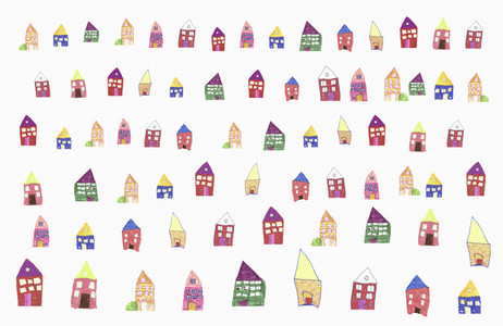 Childs drawing of multi colored houses in a row on white background
