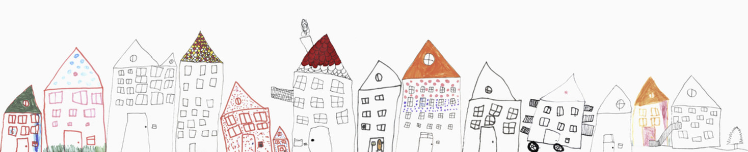 Childs drawing of  houses on white background