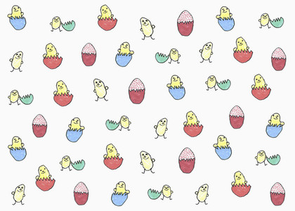 Childs drawing of chicks hatching from multi colored eggs