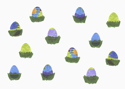 Childs drawing of Easter eggs on white background