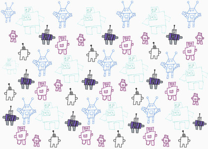 Childs drawing of robots on white background