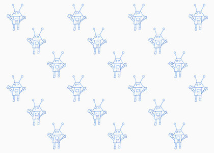 Drawing blue robots on white background