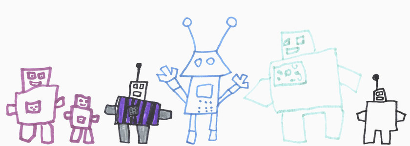 Childrens drawing of cute robots