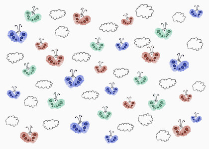 Drawing of multi colored butterflies among clouds