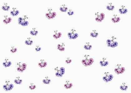 Drawing of purple and pink butterflies on white background
