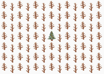 Childs drawing of Christmas tree surrounded by saplings