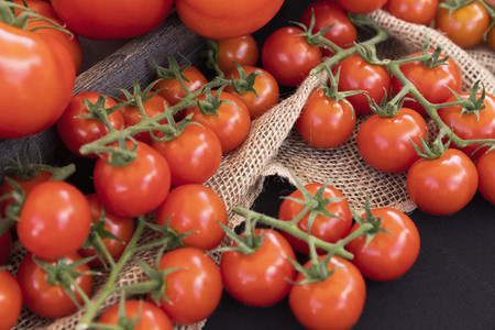Vibrant red freshly harvested vine tomatoes