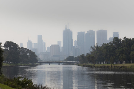 Bush fire haze over Melbourne city and Yarra River