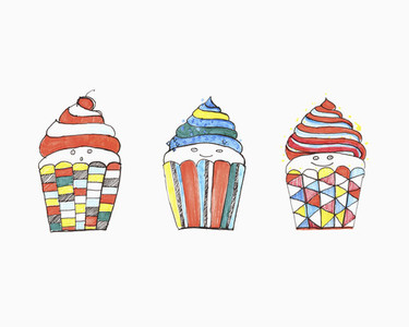 Vibrant colored anthropomorphic cupcakes