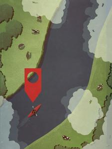 Map pin icon above person kayaking along rural river