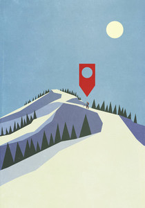 Map pin icon above person mountaineering on snowy mountain